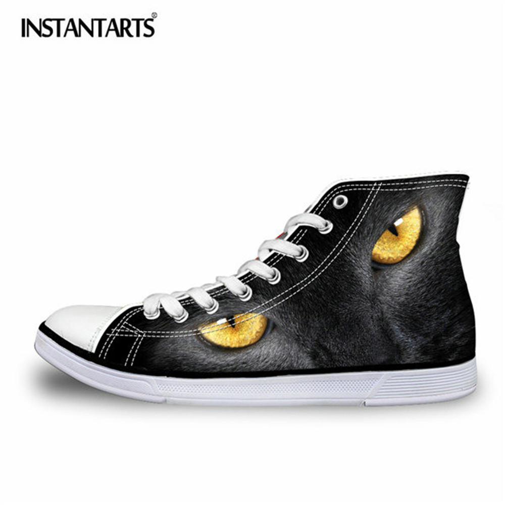 INSTANTARTS Black Cat 3D Printing Men Vulcanized Shoes High Top Canvas Shoes Flats for Teenage Boys Fashion Sneaker Shoes Male fashion camouflage printing tank top for men
