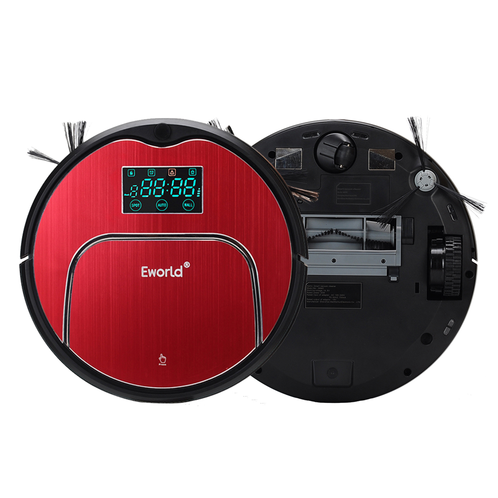 Eworld M883 Smart Robot Vacuum Cleaner With Mop Schedule Self Charge With LCD Storage Box Gift Friends And Relatives  Best Gifts free to europe eworld 2016 auto vacuum cleaners with robot vacuum cleaner mop with noise level less 50 db