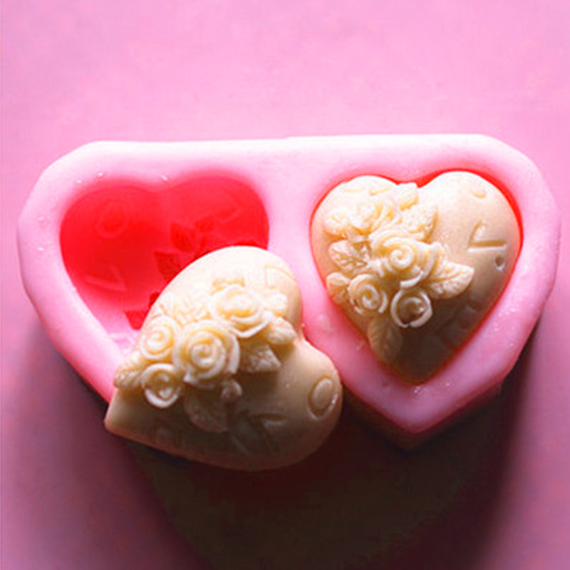 6-cavities Heart Silicone Soap Mold Chocolate Candy Valentine/'s Day DIY Tools