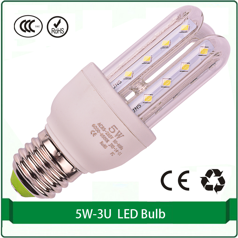 5W LED energy saving CFL 3U  free shipping 1 pieces only corn led lamp bulb E27 B22 E14 corn 3200k 6500k led corn bulbs 15 w e27 cool white 15leds 1w highpower led energy saving cfl bulb lamp spotlight 220v 240v