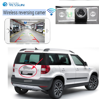 YESSUN car hd new wireless Rear  Camera For Skoda Yeti 2009~2013 CCD Backup Parking Camera 4LEDS Night Vision License Plate came