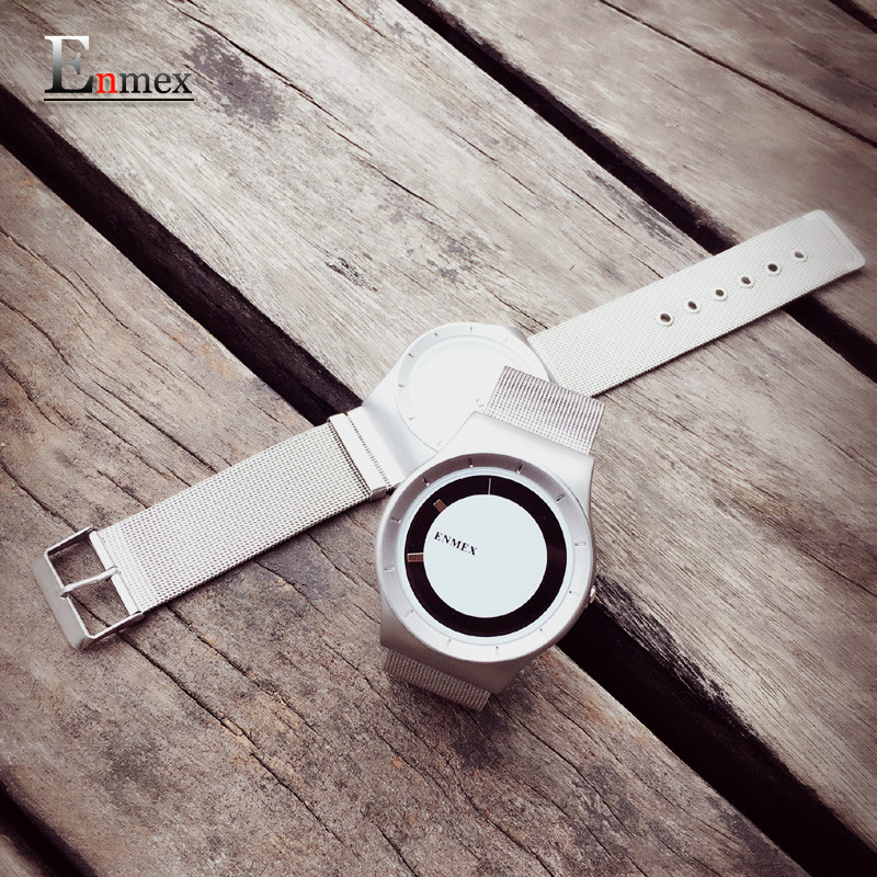 2016 gift Enmex special design wristwatch creative dial leather simple fashion for young silver colour quartz