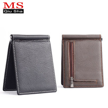 Genuine Leather Wallet men 2017 Clamp For Money Luxury Card & ID Holder Coin Wallet Money Clip Men Purse Small Wallets Male