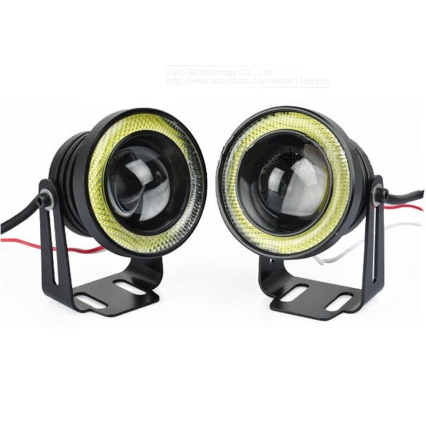 2x 64/76/89mm 20W Led COB Fog Lamp Car Vehicle Auto Blue/White/Red Angel Eyes Light Lens DC12V Daytime Running Lights - Zeto Technology Co., Ltd. store