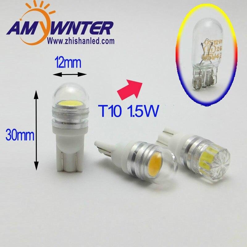 Габаритные лампы W5W T10 12V, светодиодный, для автомобилей, COB, 1,5 Вт, светодиодный, для салона автомобиля, источник освещения AMYWNTER