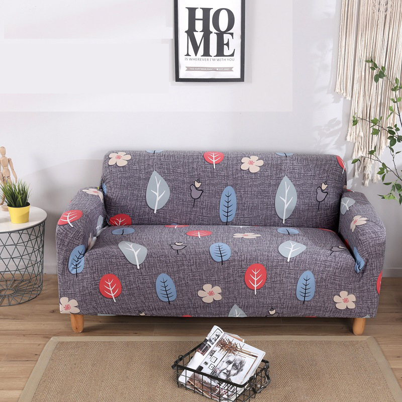 Sofa Cover Grey Leaves Flower Sectional Sofa Slipcovers For Living Room Loveseat Cover Stretch Couch Cover 3 Seater Cubre Sofa