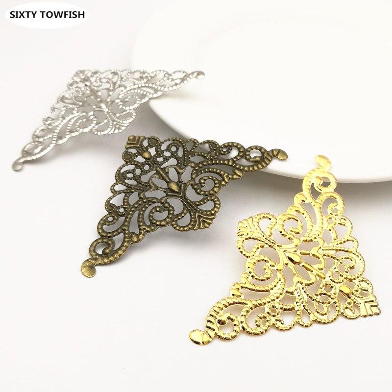 10pcs/lot 77x48mm 3Colors Metal Filigree Flowers Slice Triangular Charms Setting DIY Components Jewelry Findings B103201
