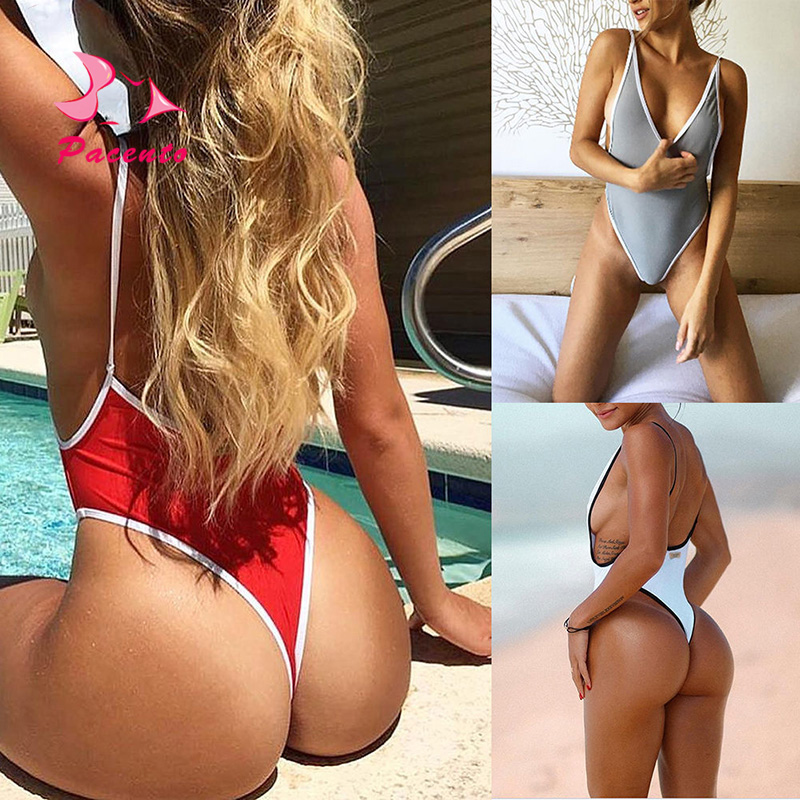 Pacento One-piece Suit Sexy Swimwear Women 2018 Large Size Female Halter Swimsuits Thong Monokini Swiming Suits Plavky Damy XL