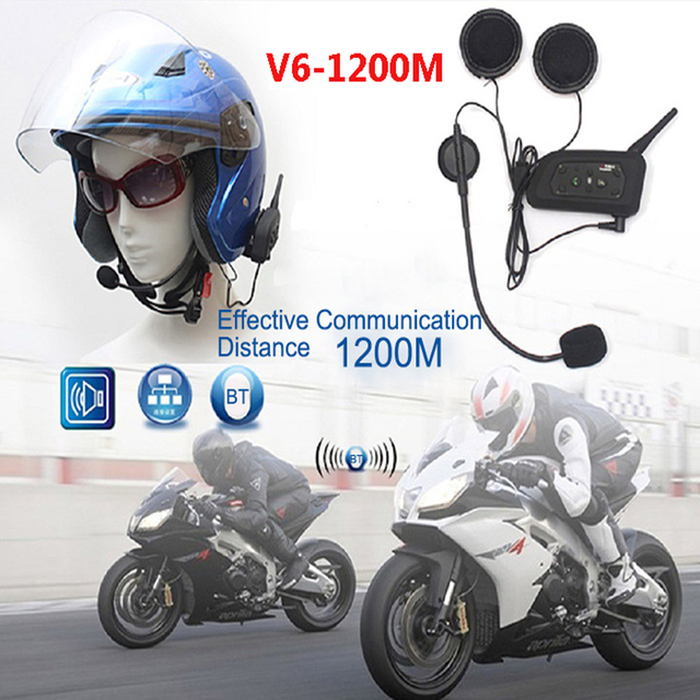 ¡ Promoción! 2xV6 Multi Interphone de BT 1200 M Motocicleta Del Casco de Bluetooth Intercom Interphone Auricular Intercomunicadores para 6 Jinete