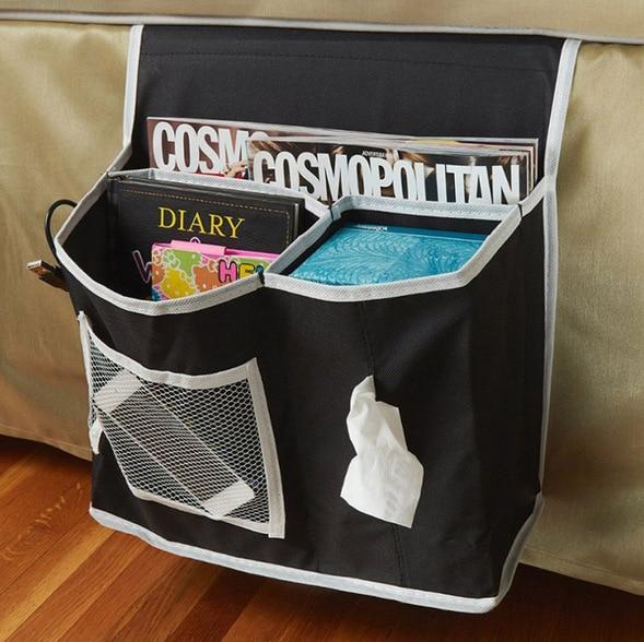 Bedside caddy mattress pocket bed organizer Hanging Holder 2016 hotsale black beige book household supplies packing storage bag