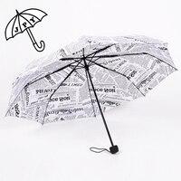 Branco e preto papel padrão guarda-chuva londres jovem homem suave chuva e sol guarda-sol 8 ossos à prova de vento forte mulher chuva guarda-chuva
