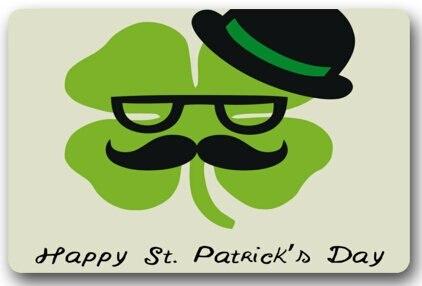 Happy St. Patricks Day Mat Floor Mat Door Mat Neoprene Rubber Non Slip Backing Machine Washable