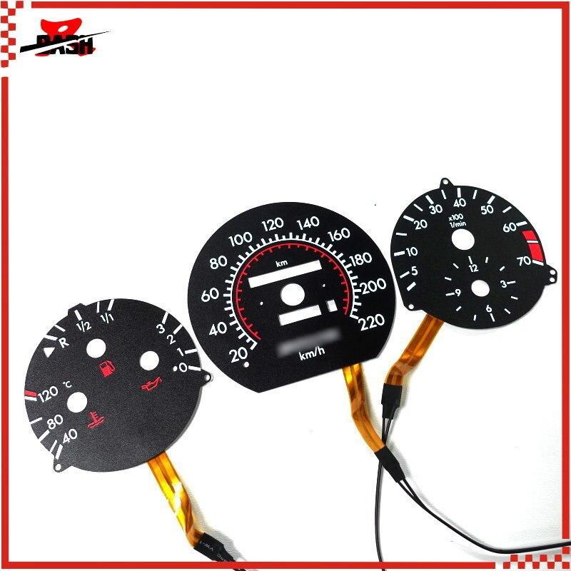 DASH 220 KM For Mercedes W124 W126 W201 190E EL Glow Gauge Black Panel White Lighting (1318637K+1303023K)