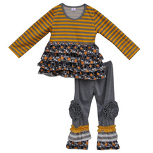 Automne Hiver Filles Boutique Top et Pantalon à Rayures Enfants Tenues À Volants Coton Nouveau-Né Bébé Vêtements Costumes Enfants Vêtements Ensembles F047