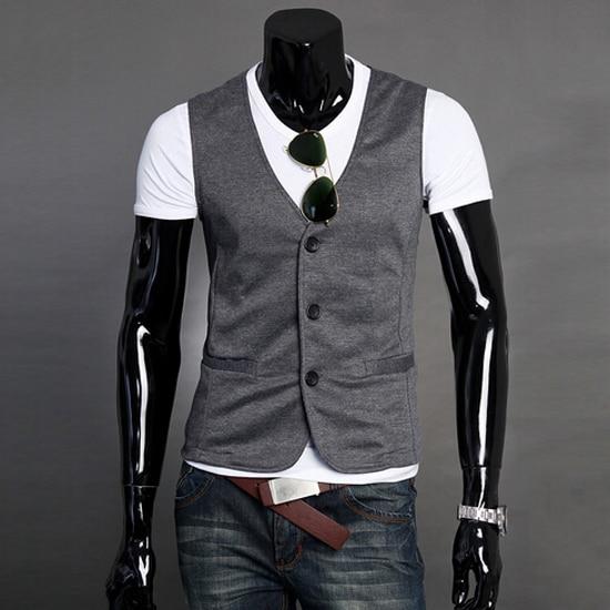 2016 Mens Suit Vest With Pockets Men Sleeveless Jacket Coat Black Casual Waistcoat Slim Dress Vests Colete Masculino 13M0116