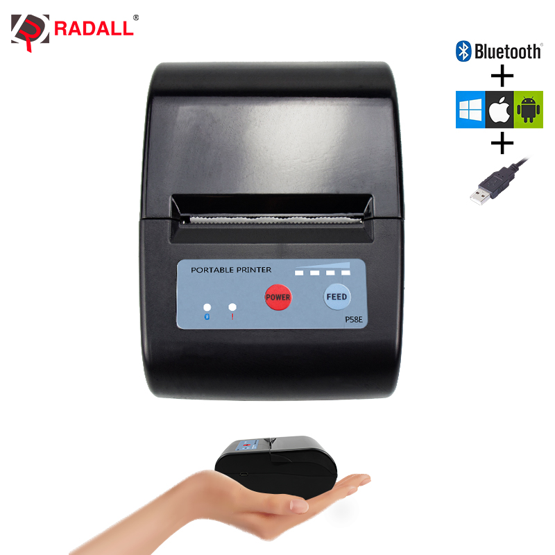 58mm Mini Bluetooth Printer Thermal Printer Pocket printer portable ticket printer for Android / iOS Pocket Printer POS ESC/POS(China)