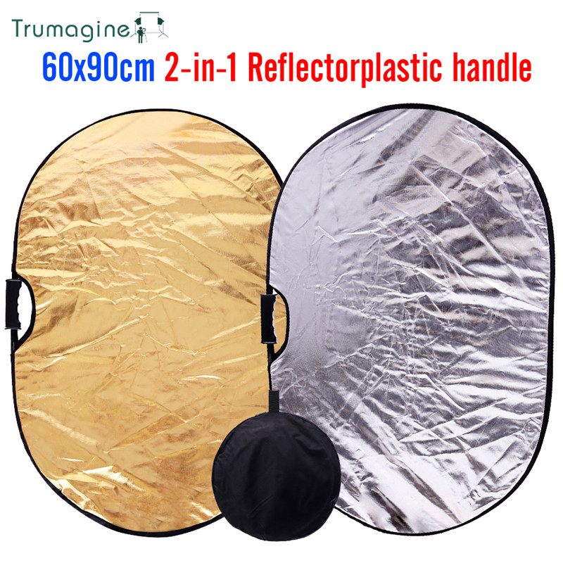 TRUMAGINE 60x90cm / 24x35in 2 in 1 Portable Collapsible Lighting Oval Reflector for Photo Studio Light Accessories With Handle