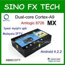 Dual core Amlogic 8726 MX Android caixa de tv Malásia 1 ano de assinatura myiptv HDTV Huat88tv