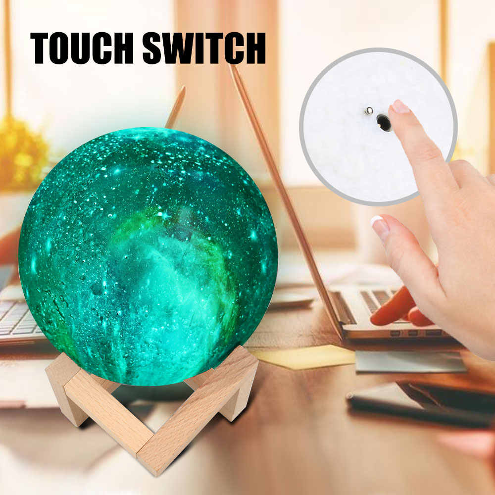 Перезаряжаемые светодиодный ночник 15 см 3D с принтом звездного неба Magic с изображением луны и звезд, планетарный проектор лампа Красочные Изменение сенсорный экран для подарка