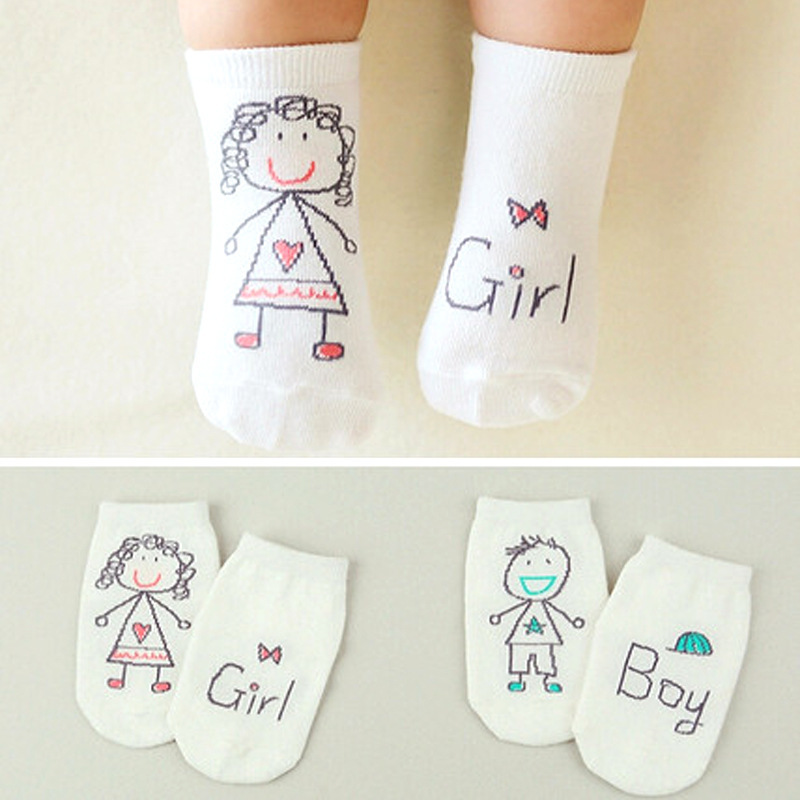Baby Pure Cotton Socks Newborn Spring Autumn Anti Slip Cartoon Toddler Socks Asymmetry Pattern Socks For Baby 0-36 Months