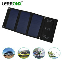 LERRONX 21W 3.5A 5V Sunpower Portable Solar Panel waterproof foldable solar panels charger for Mobile phone outdoor camping