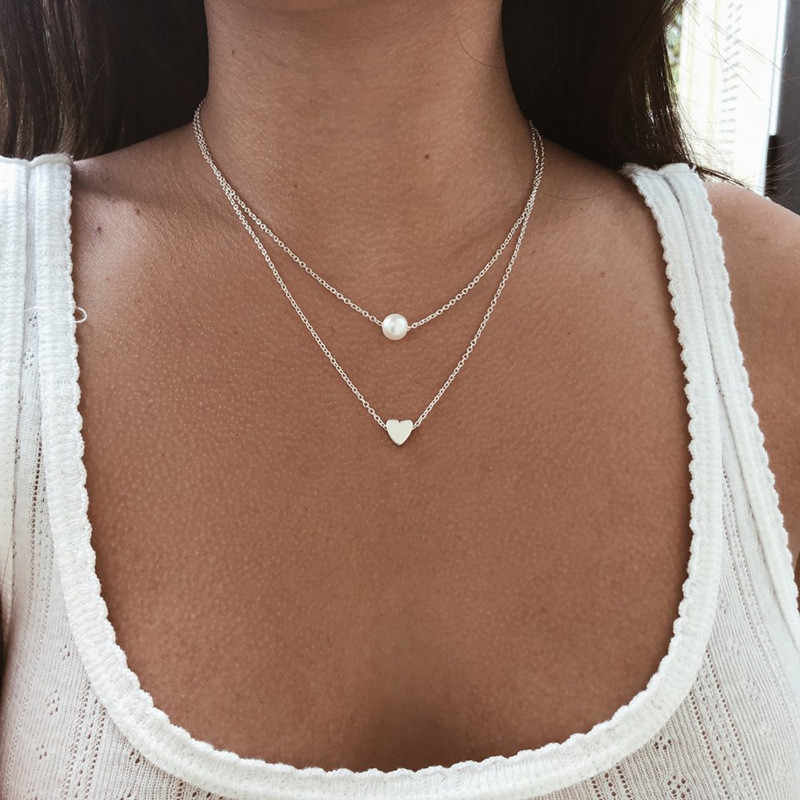 Tiny Heart Necklace for Women SHORT Chain Heart star Pendant Necklace Gift Ethnic Bohemian Choker Necklace drop shipping