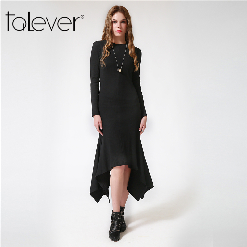Autumn Winter Female Knitted Midi Sweater Dresses Black Long-Sleeve Irregular Vintage Women Long Party Dress Plus Size Talever winter wimmelbuch midi ausgabe