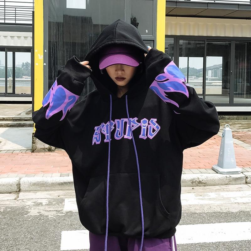 Harajuku Fashion Hellfire Letter Print Women Hoodies Vintage Loose Hooded Women Pullovers Long Sleeve Plus Velvet Sweatshirt