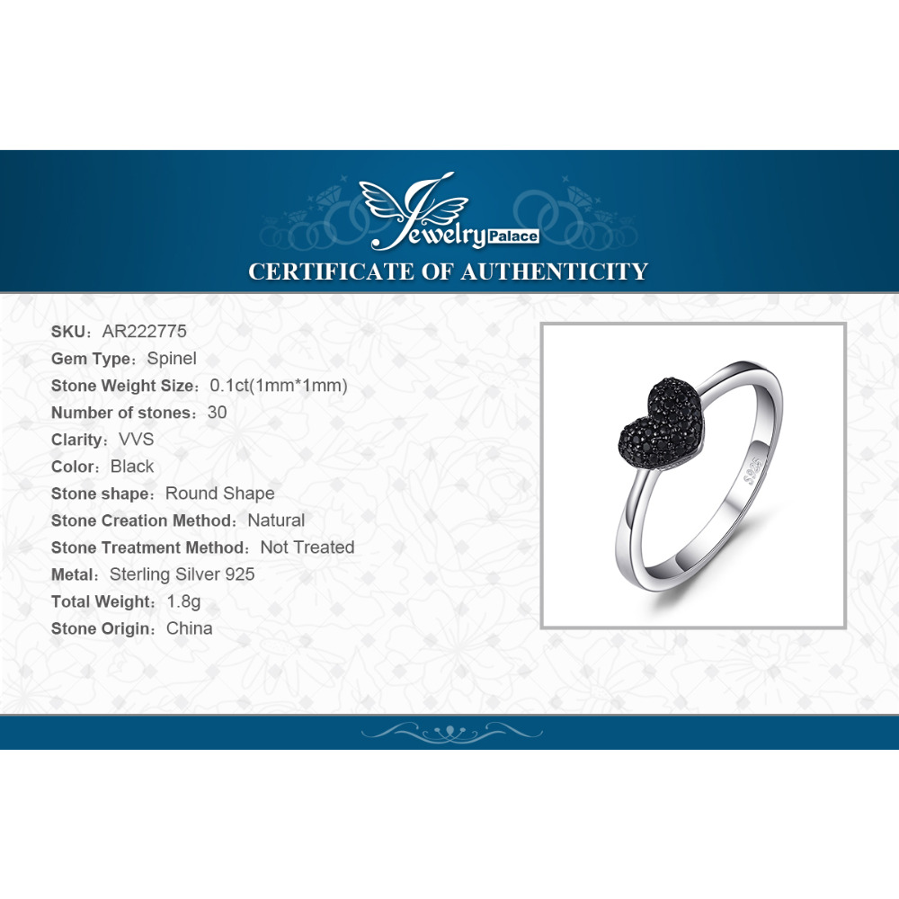 Купить с кэшбэком JewelryPalace Heart Natural Black Spinel Ring 925 Sterling Silver Rings for Women Engagement Ring Silver 925 Gemstones Jewelry