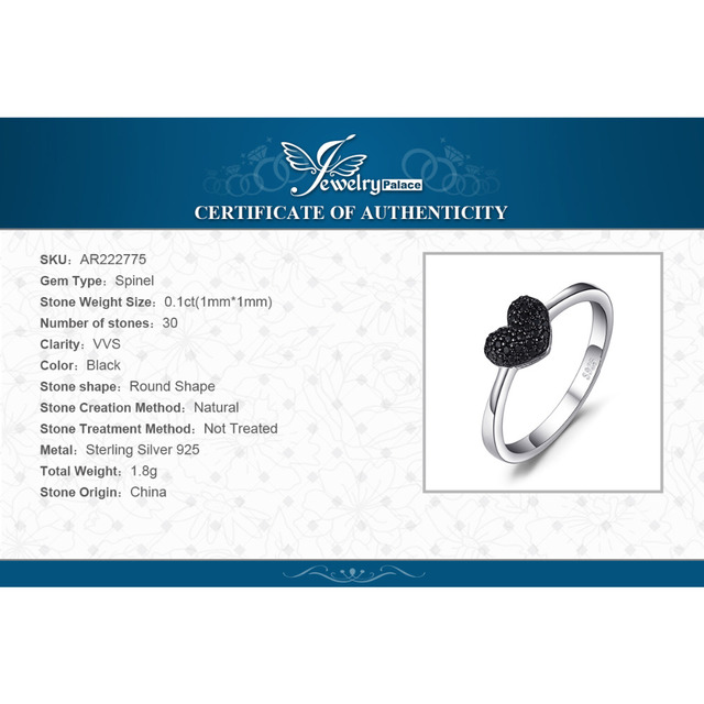 JewelryPalace Heart Natural Black Spinel Ring 925 Sterling Silver Rings for Women Engagement Ring Silver 925 Gemstones Jewelry 5