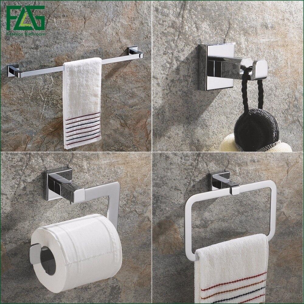 FLG All copper Chrome Bathroom Accessories Set Single Towel Bar Robe Hook Paper Holder Bath Hardware