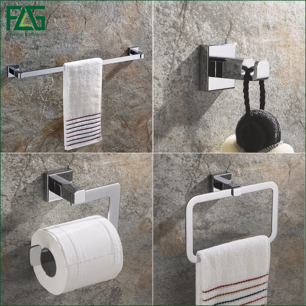 FLG All-copper Chrome Bathroom Accessories Set Single Towel Bar, Robe Hook, Paper Holder Bath Hardware Sets,Russian Style 825-4 leyden towel bar towel ring robe hook toilet paper holder wall mounted bath hardware sets stainless steel bathroom accessories