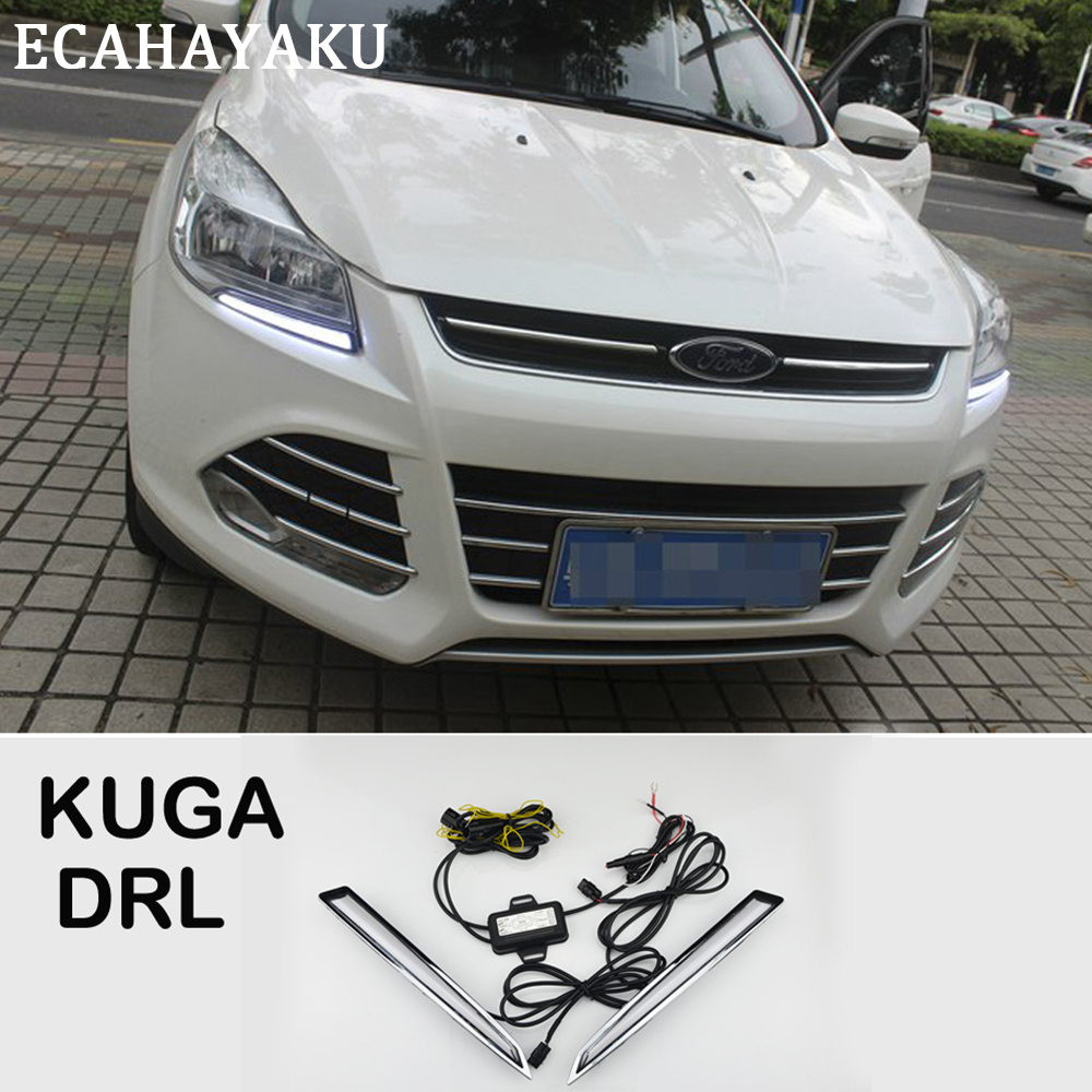 ECAHAYAKU Daytime Running Light DRL for Ford Escape Kuga 2013 2014 2015 2016 Left Right side Turning Signal Light car styling xyivyg for ford kuga escape 2013 2014 2015 chrome side rearview mirrors cover trim 2pcs