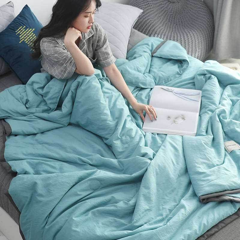 Japanese-style water-washed cotton summer quilt air conditioning cool spring and autumn single double thin