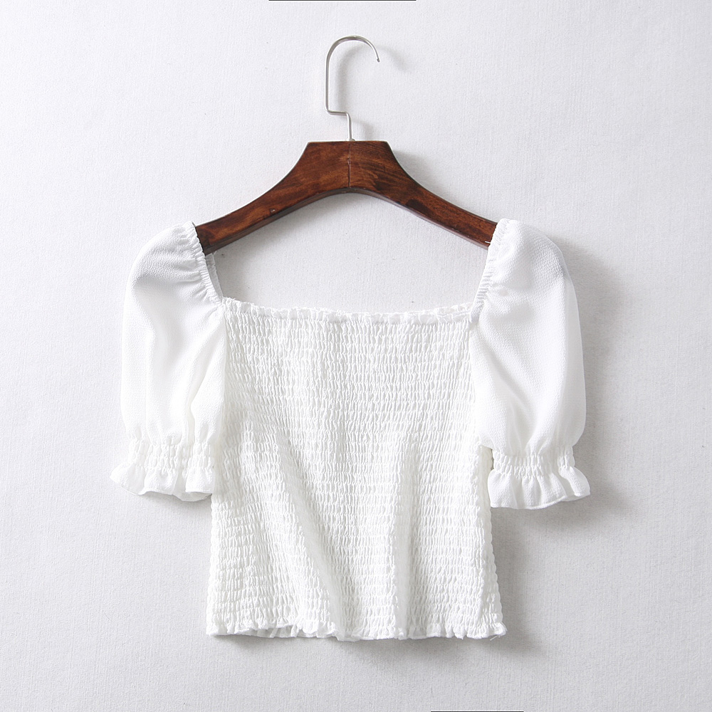 662c47c39eaaac Women Vintage Square Neck Smocked Crop Top with Frill Trim Puff Sleeve  Chiffon Shirring Blouse-in Blouses   Shirts from Women s Clothing on  Aliexpress.com ...
