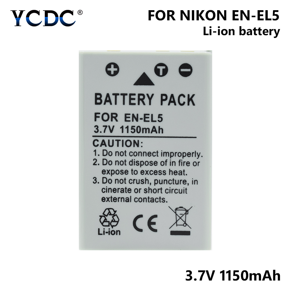 1/2 Pieces EN-EL5 ENEL5 EN EL5 3.7V 1150mAh Li-ion Camera Battery For  Nikon Coolpix 3700 4200 5200 5900 7900 P3 P4 P500 P510