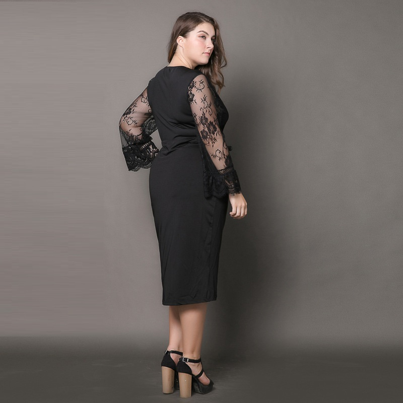 Summer Hollow Lace Sleeve Patchwork Black Dress Sexy V Neck Evening