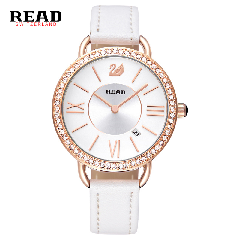Read brand  2017 Fashion Casual Luxury Brand white Strap for Leather women watch quartz rose gold Swan prints decorative 28056 nobda fashion brand leather strap casual