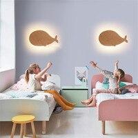 Modern Creative Dolphin Wood Led Wall Lamp for Kids' Room Bed Roon Kindergarten Animal Wood Lighting Fixture 2418