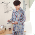 2017-Spring and Autumn Men 's classic plaid cardigan pajamas suit in the elderly long - sleeved pants cotton pajamas suit R203