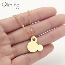 Mickey Mouse Necklace For Women Baby Children JewelrySolid Gold Simple Everyday Cute Necklace Unique Birthday Gift все цены