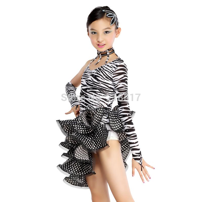 e35cb0d55 New Girls Zebra S XXL Diamond Latin Dance Dress Ballroom Dance Dress ...