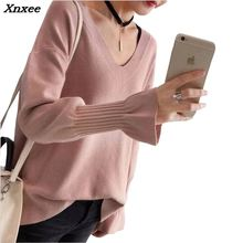 2018 womens sweater winter v-neck candy color  loose wool warm pullovers blouse Xnxee