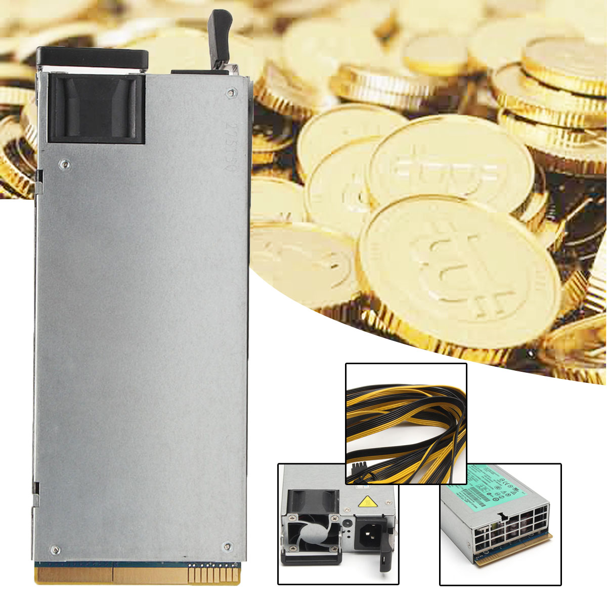 DPS 1200FB 1200QB Power Supply With  Breakout Board Adapter Panel 12 Cables (6+2)P For Ethereum Mining MinerDPS 1200FB 1200QB Power Supply With  Breakout Board Adapter Panel 12 Cables (6+2)P For Ethereum Mining Miner