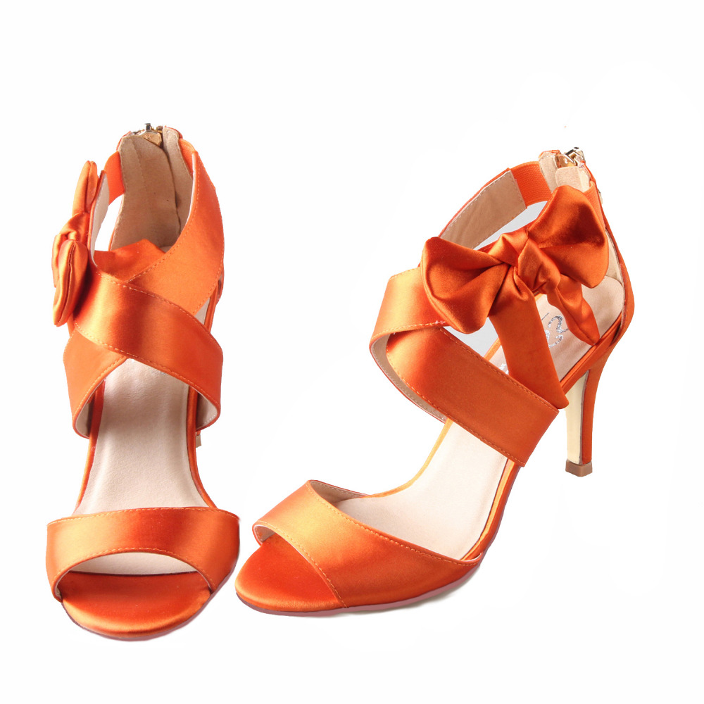lampada soffitto Michelangelo  Crossed strap ankle bow sandals burnt orange bridal wedding dress shoes  summer party prom 3'' heels satin pumps ship from US|High Heels| -  AliExpress