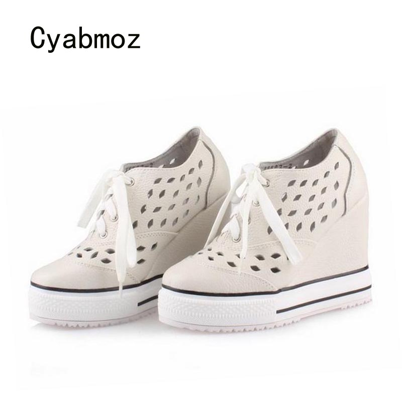 Cyabmoz Platform High heels Women Shoes Woman Genuine Leather Hollow Height Increasing Ladies Shoes Zapatos Mujer Tenis Feminino cyabmoz zapatos mujer tenis feminino platform shoes woman lace up thick bottom women casual party ladies valentine single shoes