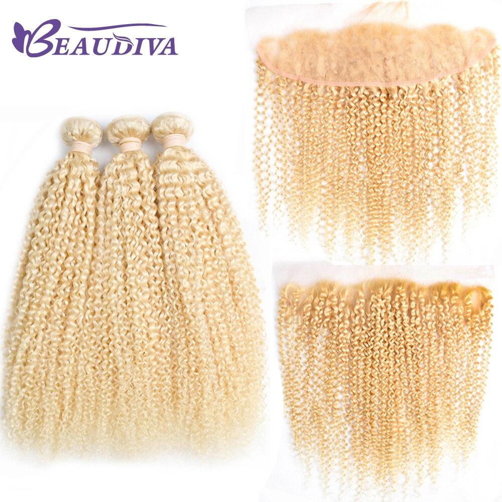 BeauDiva бразильский странный вьющиеся 613 блондинка Связки с закрытием комплект из 3 предметов бразильский вьющиеся волосы человека с кружевно...