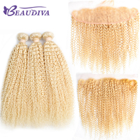 BeauDiva Kinky Curly 613 Blonde Bundles With Frontal Closure Brazilian Human Hair Weave Bundles With Frontal Hair Extension Remy