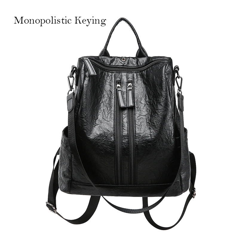 Fashion Women's Backpack New Brand Youth Ladies Pu Leather Shoulder Bag Embossed Double Zipper Female Travel Bag
