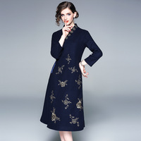 New Pretty Chinese Style Dress Women High Quality Pretty V_neck Three Quarter Sleeve Female Brief Cheongsam Dress